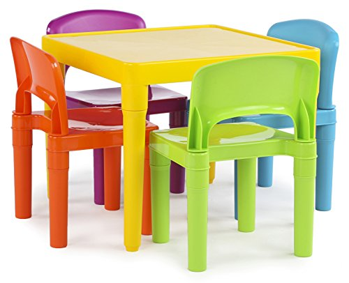 Kids Plastic 20 x20 inch Table and 4 Bright Colored Chairs