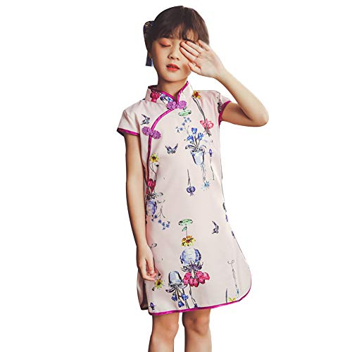 HP95 Toddler Girls Chinese Cheongsam Flowers Dress Party Princess Dresses Outfit