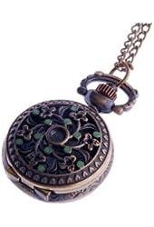 Ladies Pocket Watch Pendant Necklace Small Face Steampunk Cosplay Green Enamel Flower Pattern PW-61