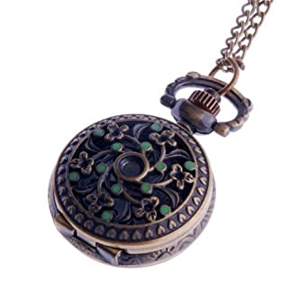 Ladies pendant necklace pocket watch quartz small face with chain ladies pendant necklace pocket watch quartz small face with chain antique reproduction design green enamel flower mozeypictures Images