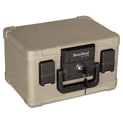 Fire and Waterproof Chest, 0.15 ft3, 12-1/5w x 9-4/5d x 7-3/10h, Taupe, Sold as 1 Each