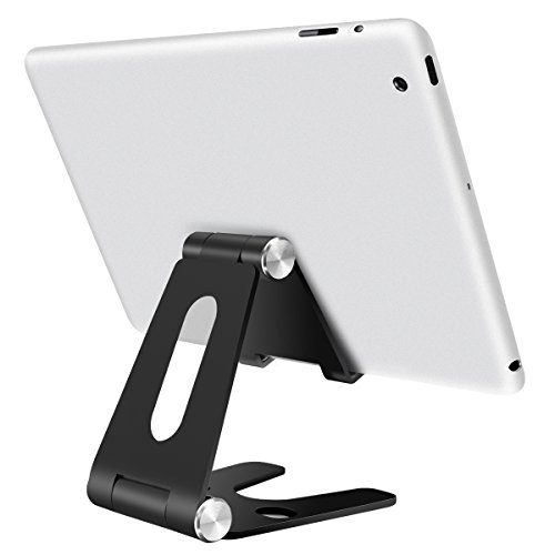 iPad Stand, Kissral Folding Tablet Stand, Cell Phone Stands, iPhone Stand, Adjustable Stand, iPad Pro Stand, iPad Mini, Samsung, Other Tablet Stands and Holders for Desk (4-13 inch)(Black)