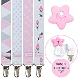 Liname® Pacifier Clip for Girls with BONUS Teething Toy - 4 Pack Gift Packaging - Premium Quality & Unique Design - Pacifier Clips Fit ALL Pacifiers & Soothers - Perfect Baby Gift