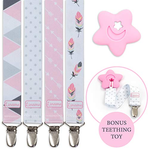 Liname Pacifier Clip for Girls with Bonus Teething Toy - 4 Pack Gift Packaging - Premium Quality & Unique Design - Pacifier Clips Fit All Pacifiers & Soothers - Perfect Baby Gift