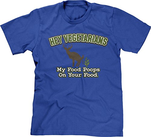 Blittzen Mens Vegetarians My Food Poops On Your , XL, Royal Blue