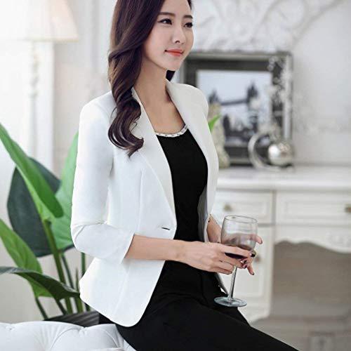 Larga Botonadura Slim Unicolor Blanco De Mujer Fit Solapa Otoño Oeste Chaqueta Casual Outerwear Negocios Manga Americana UAq0xfIA