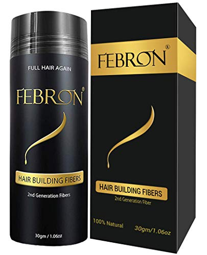 FEBRON Hair Building Fibers - Hair Loss Concealer For Thinning Hair - Giant 30gm Hair Powder Volumizing Based (Dark Brown) (Best Hair Fiber Powder)