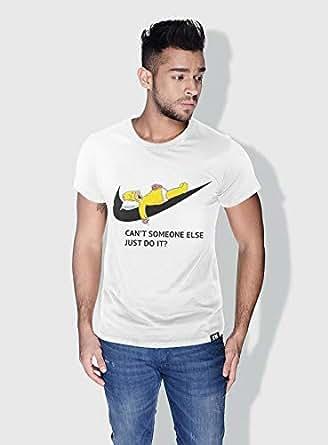 Creo Simpson Minions Round Neck T-Shirt For Men - White, S