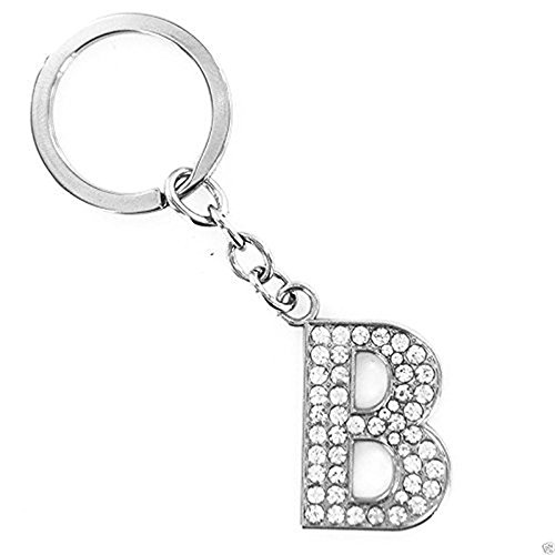 JewelBeauty Accessories Silver Tone Bling Rhinestone Pave Letter Personalized Initial Bag Charm Keychain ()