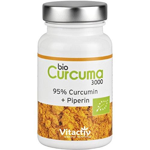 CURCUMA 3000 - BIO - 3000mg Curcuma Pulver pro Kapsel (als 30:1 Extrakt) (60 Kapseln - für 2 Monate)