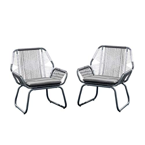 Great Deal Furniture 305086 Lydia Outdoor Wicker Club Chair Set of 2 , Gray and White