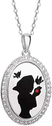 209762b7b Disney Snow White Sterling Silver Jewelry for Women and Girls, Crystal Silhouette  Pendant Necklace