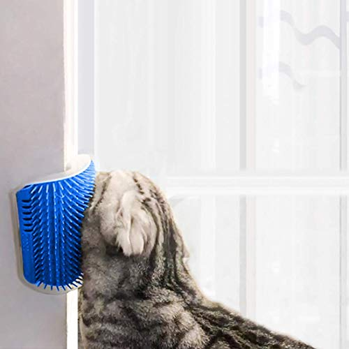 (STARROAD-TIM cat self Groomer with cathip Cat Self Grooming Corner Wall Brush Dog Cat Corner Groomer,Wall Corner Massage Comb Grooming Brush (Blue))