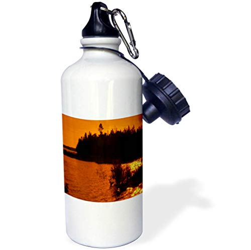 3dRose Dreamscapes by Leslie - Scenery - Fall Sunset Over Lake Michigan, Sun Reflection on The Water - 21 oz Sports Water Bottle (wb_292230_1) by 3dRose