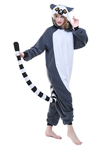 Ring Tailed Lemur Tail Costume (Halloween Lounge Homewear Anime Pyjamas Adult Unisex Cosplay Costume (XL, Ring Tailed Lemur))