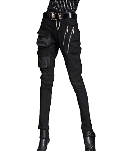Minibee Pernalized Punk Street Style Harem Pants Patchwork Zipper Pockets (M, black) by Minibee