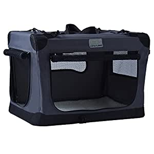 EXPAWLORER Collapsible Foldable Dog Crate, Indoor & Outdoor Soft Pet Home 24-Inch