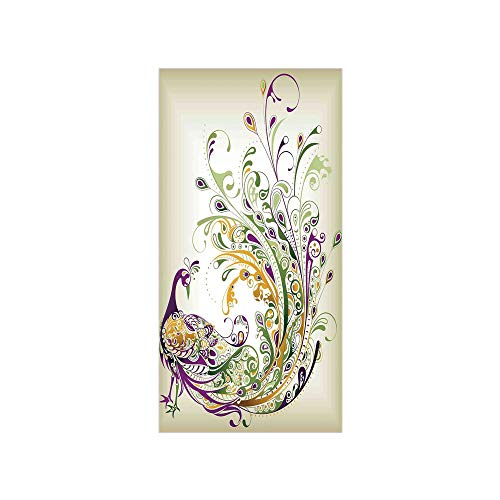 Ylljy00 Decorative Privacy Window Film/Peacock Bird Tail Feather Plume Paisley Pattern Ornamental Decorating Decorative/No-Glue Self Static Cling for Home Bedroom Bathroom Kitchen Office Decor