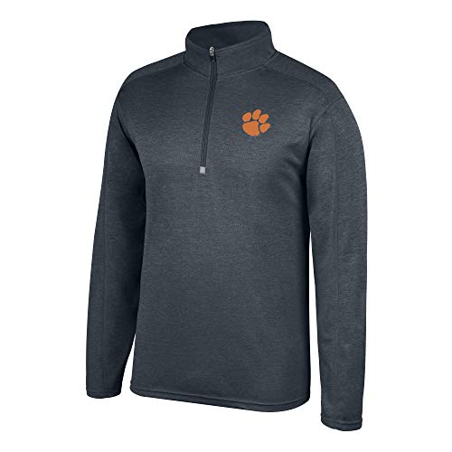 Top of the World NCAA Men's Clemson Tigers Dark Heathered Poly Half Zip Pullover Charcoal Heather Large