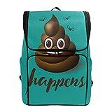 ALAZA Smiling Face Poop Emoji Durable Backpack Book Laptop Sleeve College School Travel Shoulder Bag for Women Girls Men Boys
