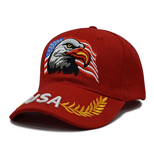 3D Embroidery Dad Hat Patriotic Eagle American Flag Adjustable Baseball Cap USA (Red) ()