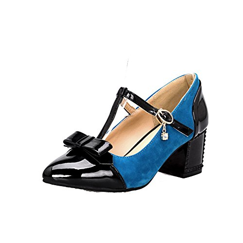 AmoonyFashion Womens Blend Materials Buckle Pointed Closed Toe Low-Heels Pumps-Shoes Blue 8GFEE8