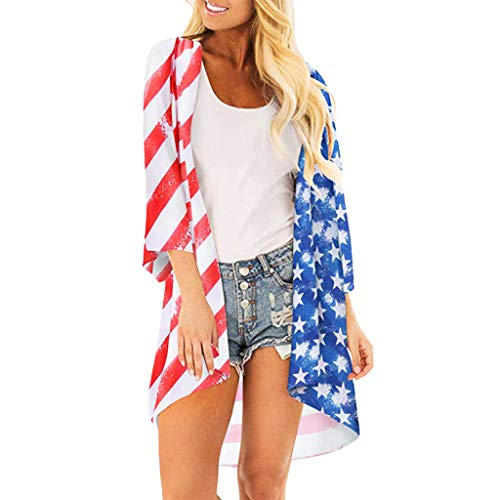 DAYPLAY Women's American Flag Print Kimono Sheer Loose Beach Party Long Blouse Ladies Cardigan 2019 Womens Clothes Sale Red ()