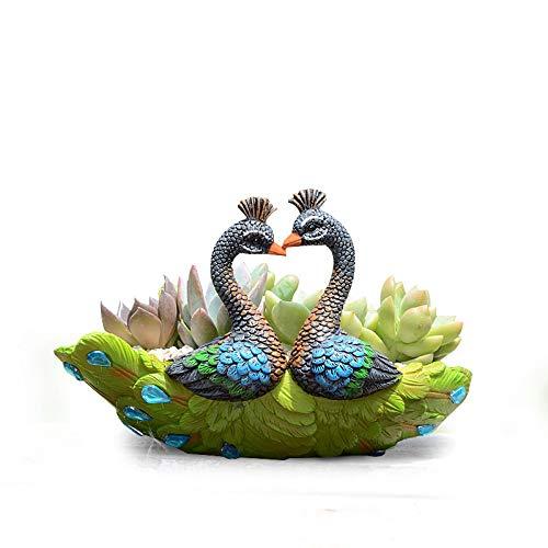 Worila Handmade Resin Peacock Succulent Plant Pot Vintage Cactus Plant Pot/Flower Pot/Container/Planter (Green) -