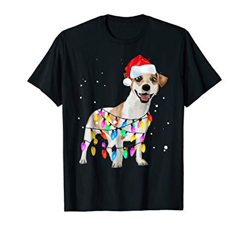 Jack Russell Terrier Christmas Dog Lights T Shirt Cute Gifts