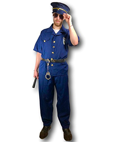 Rubber Johnnies Police Costume, Policeman, Adult, One Size Navy ()