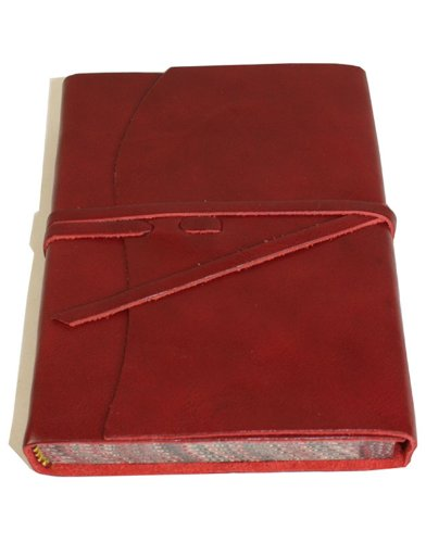 Roma Luxury Red Italian Leather Journal with Marble Edged Paper - 12 x 16 - Edged Italian Journal Leather