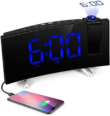 ILIFESMART Radio Despertador Digital Reloj con Proyector, Reloj FM con Alarma Doble, Puerto USB, Pantalla Grande, Regulador, Temporizador de Apagado, ...