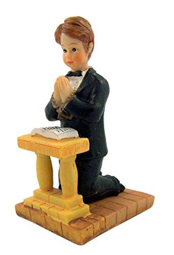 First Communion Praying Boy on Kneeler Figurine, 3 1/4 Inch