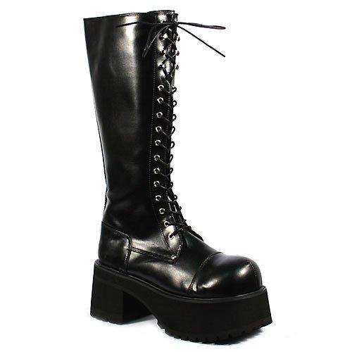 """RANGER-302 3 1/2"""" Platform Blk Pu Knee Boots"""