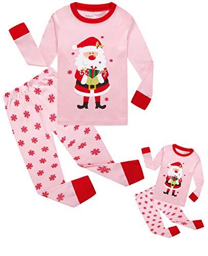 Babyroom Girls Matching Doll&Toddler Christmas 4 Piece Cotton Pajamas Kids Clothes Sleepwear -