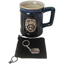 Thin Blue Line Police Keychain and Burton & Burton Police Coffee Mug Bundle - Police Lives Matter