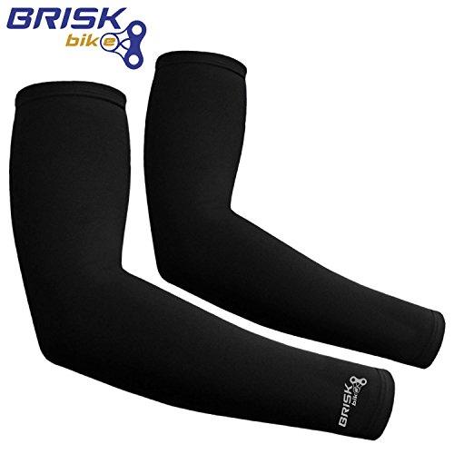 Brisk Cycling Arm Warmer Sleeve Soft Shell Thermal Black L/xl