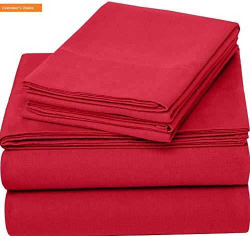 Mikash New Soft Pinzon 170 Gram Flannel Sheet Set – Cal King, Merlot Red | Style -