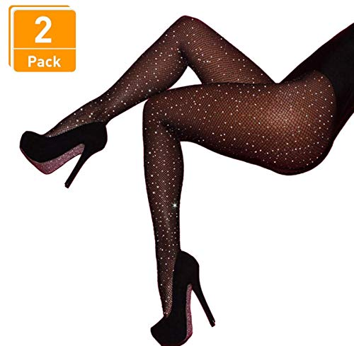 DancMolly Fishnet Stockings Pantyhose Women's 2 Pair High Waist Hollow Mesh Tights Legging Hosiery (Rhinestone/Black Small Hole,2 Pack, One Size) (6 Pack Of Fishnet Fashion Tights Black)