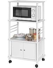 SoBuy® Mensole per Forno a microonde, Carrello da Cucina, armadietto Cucina, Senza Microonde!!Bianco,FRG12-W,IT