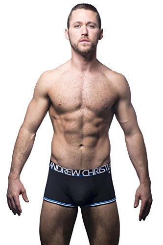 Andrew Christian Men's Pro Varsity Boxer W/Almost Naked, Black, Small by Andrew Christian