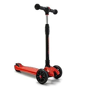Foldable GoScoot Super 3-Wheel Kick Scooter for Kids by New Bounce|Deluxe Outdoor Toy with Adjustable TBar| Durable Wheels for a Smooth Ride on Urban/Suburban Terrains|Great Gift for Toddlers (Red)
