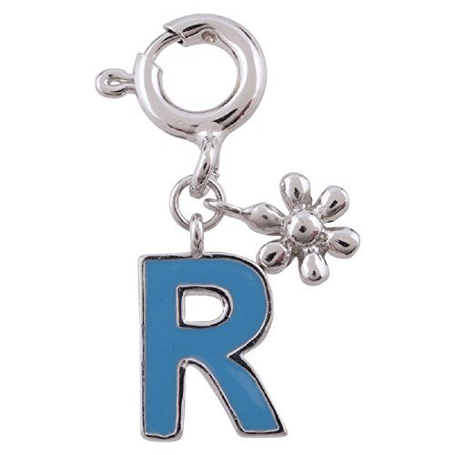 """Rhodium Plated 925 Sterling Silver Light Blue Capital Letter """"R"""" Initial w Small Flower Removable Clip on Bracelet Charm"""