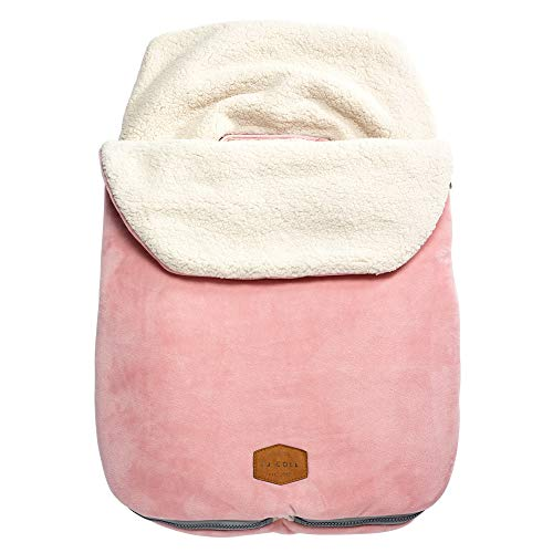 Winter Stroller Pink Cover - JJ Cole - Original Bundleme, Canopy Style Bunting Bag to Protect Baby from Cold and Winter Weather in Car Seats and Strollers (Blush Pink, Infant)