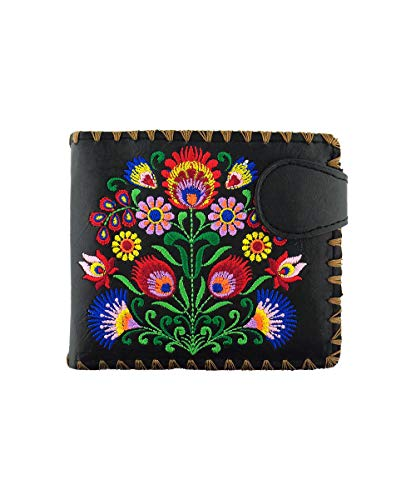 LAVISHY Embroidered Bohemian Flower Vegan/Faux Leather Bifold Medium Wallet (Black)