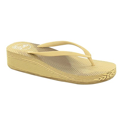 Spot on Damen Flip Flop mit Keil Absatz Tan