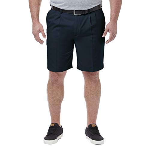 Haggar Men's Big & Tall Cool 18 Pro Pleat Front Short, Navy, 44 (Golf Pleats Shorts)