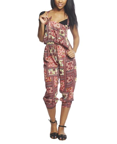 Wet Seal Women's Festival Floral Overall M Blush