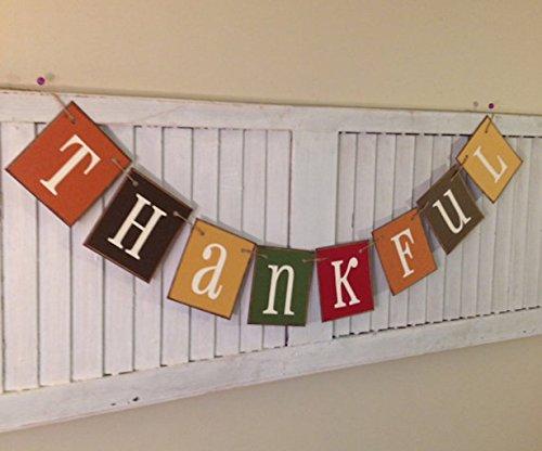 (Thankful Banner Bunting Garland Sign Beautiful Fall Colors Thanksgiving)