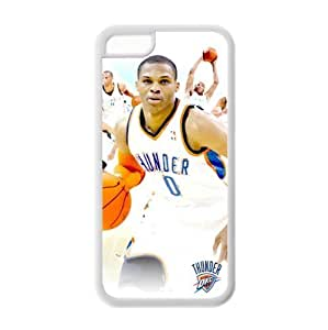 Apple iPhone 5C pc hard Case with Oklahoma City Thunder Russell Westbrook Image Background Design-by Allthingsbasketball